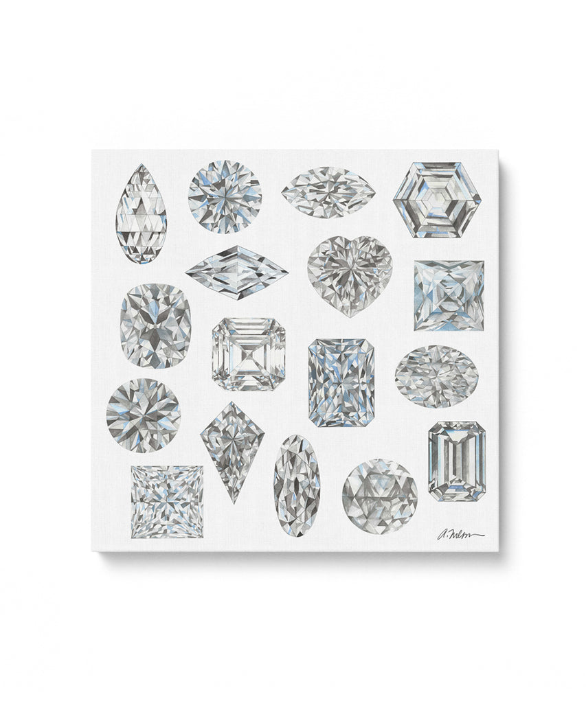 Diamond Shapes Watercolor Rendering printed on Canvas