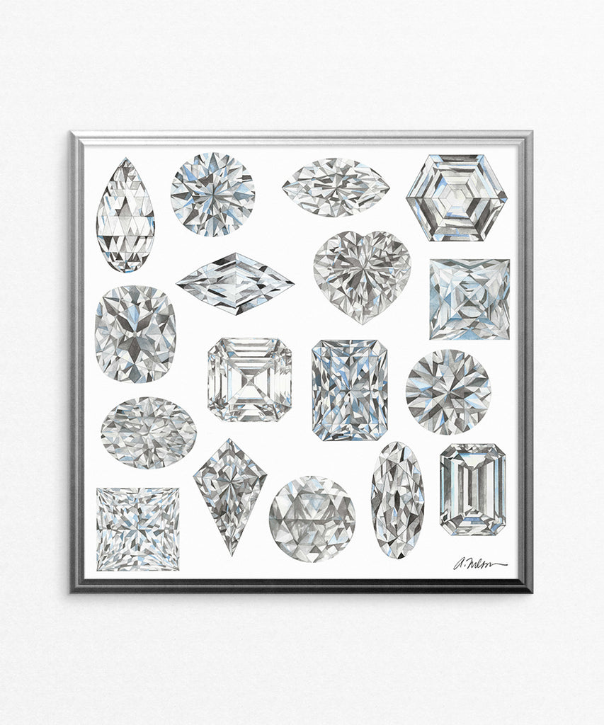 Diamond Shapes Watercolor Rendering printed on Paper