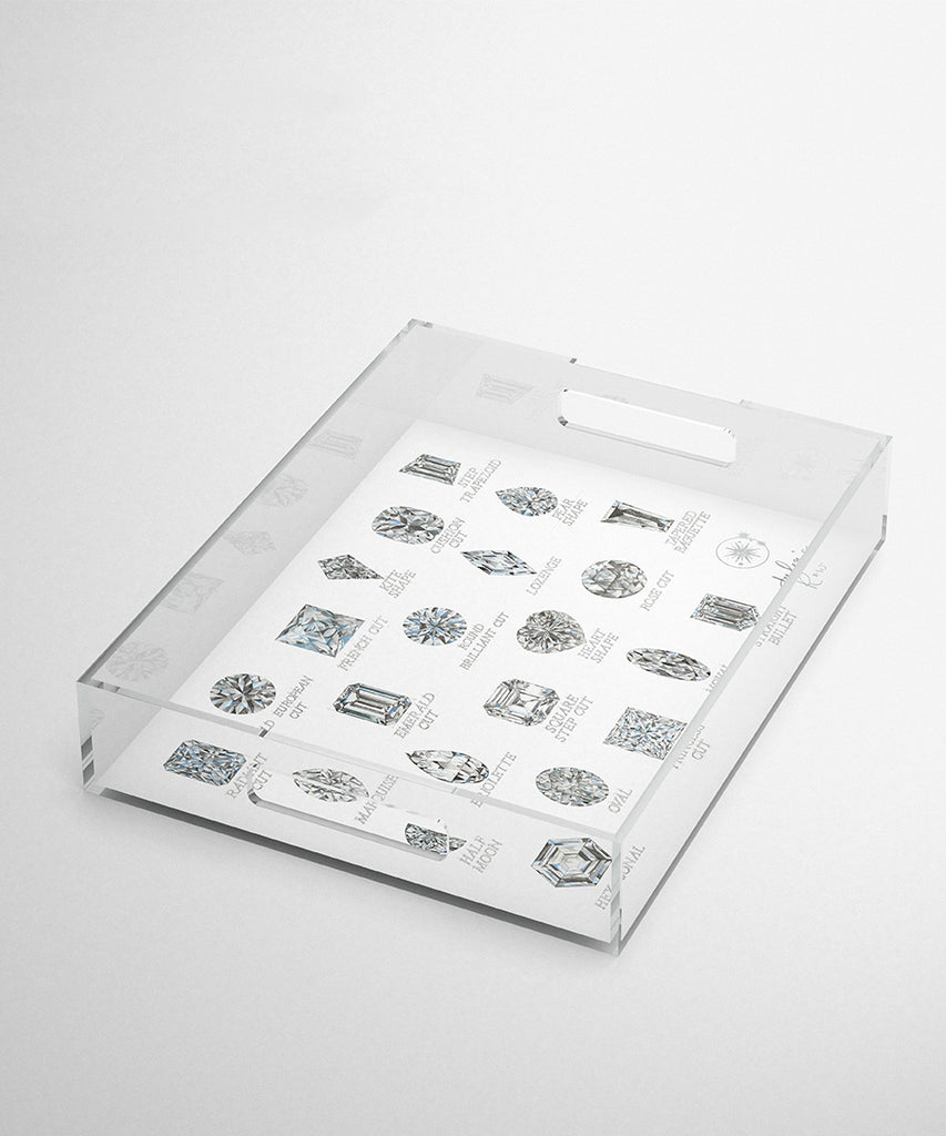 Diamond Shapes with Names Acrylic Tray