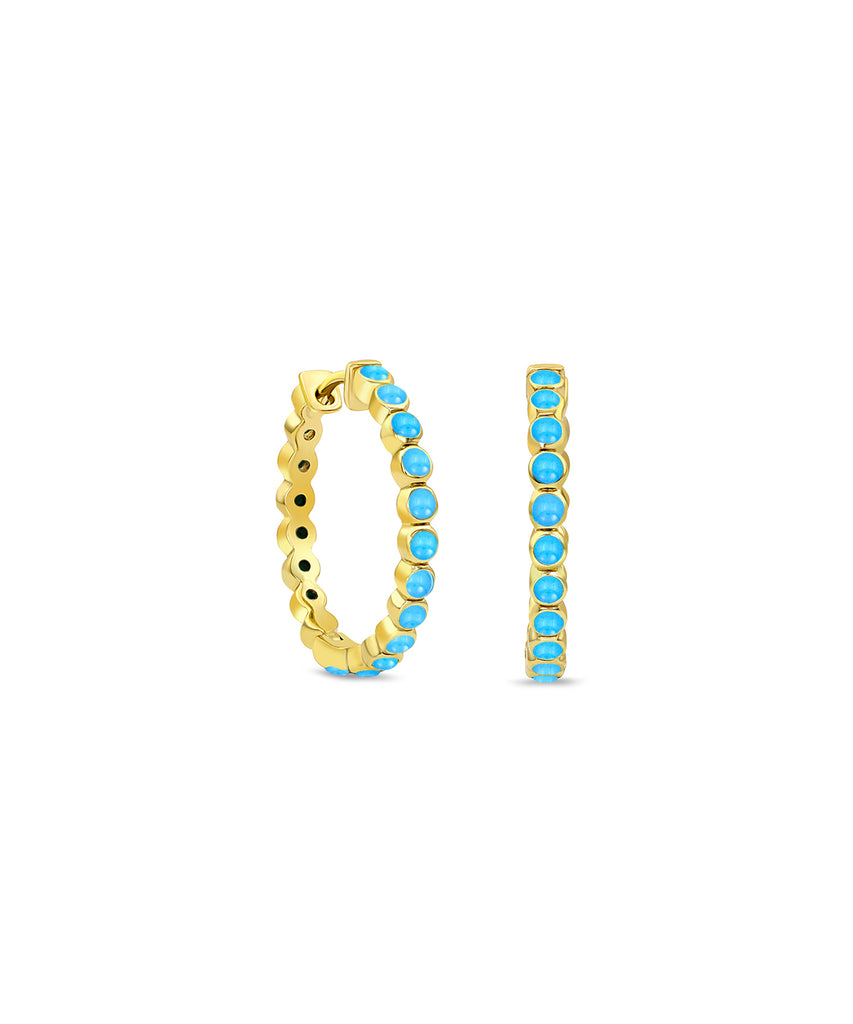 Medium Turquoise Hinged Hoop Earrings
