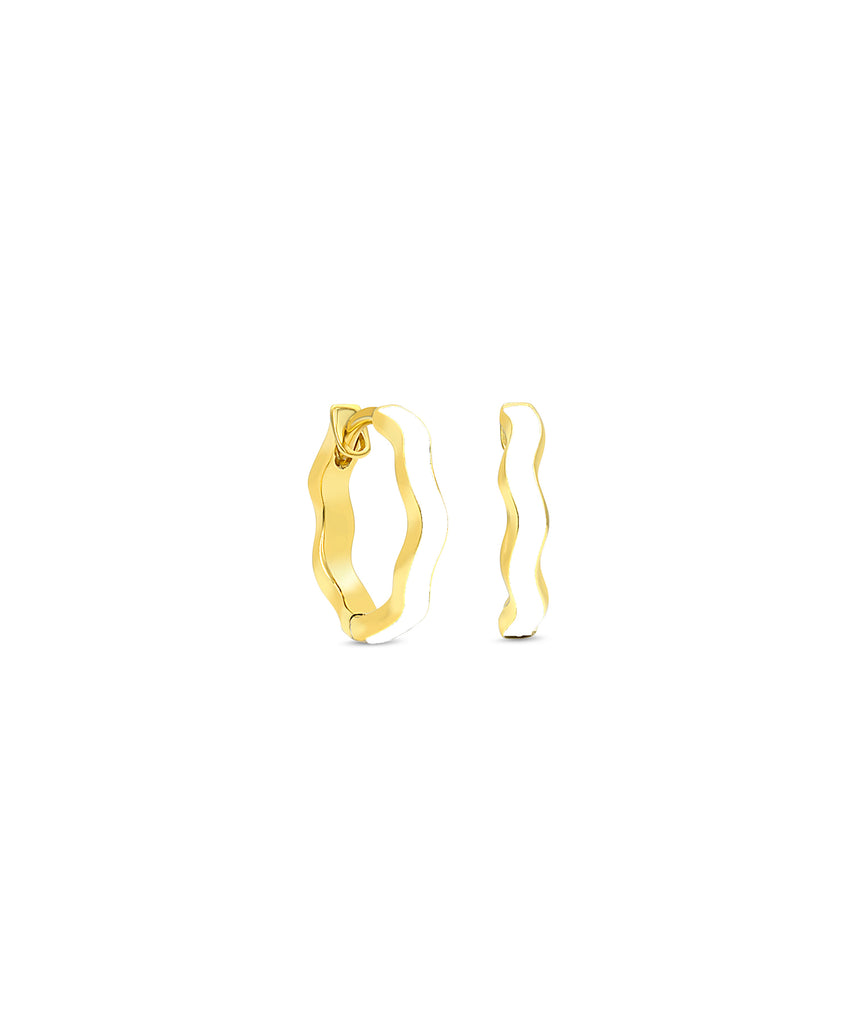 Ric Rac Enamel Hinged Hoop Earrings