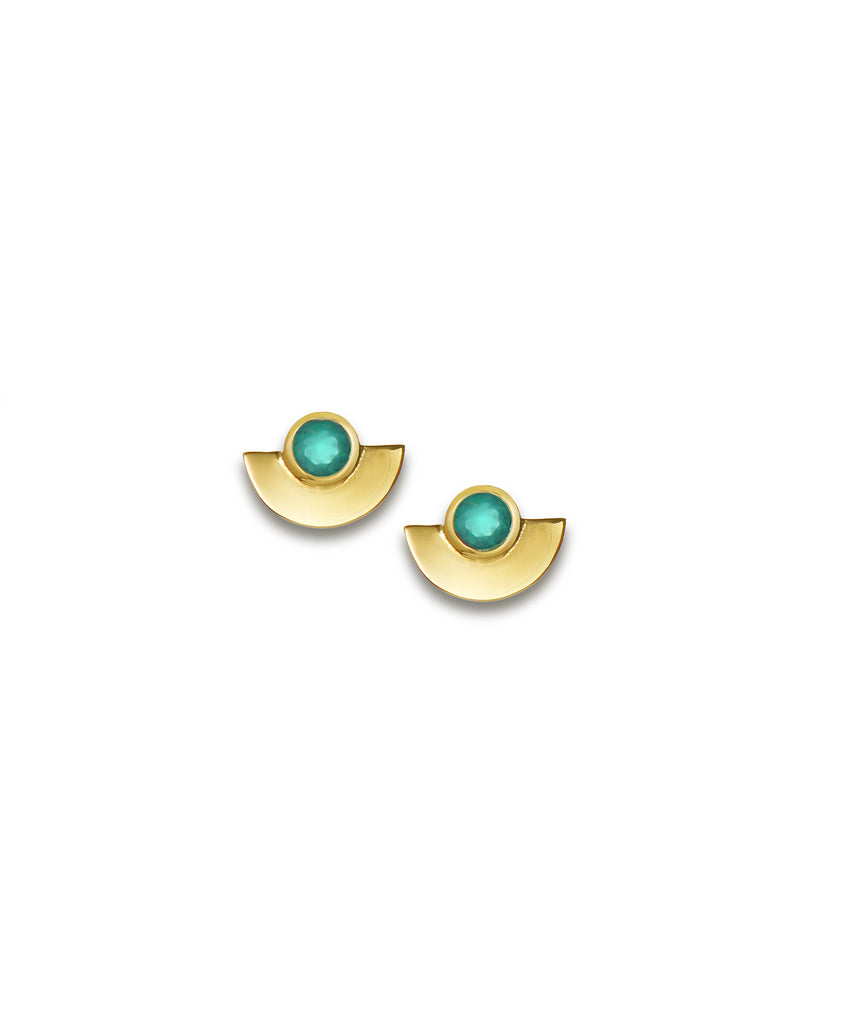 Green Onyx Fan Stud