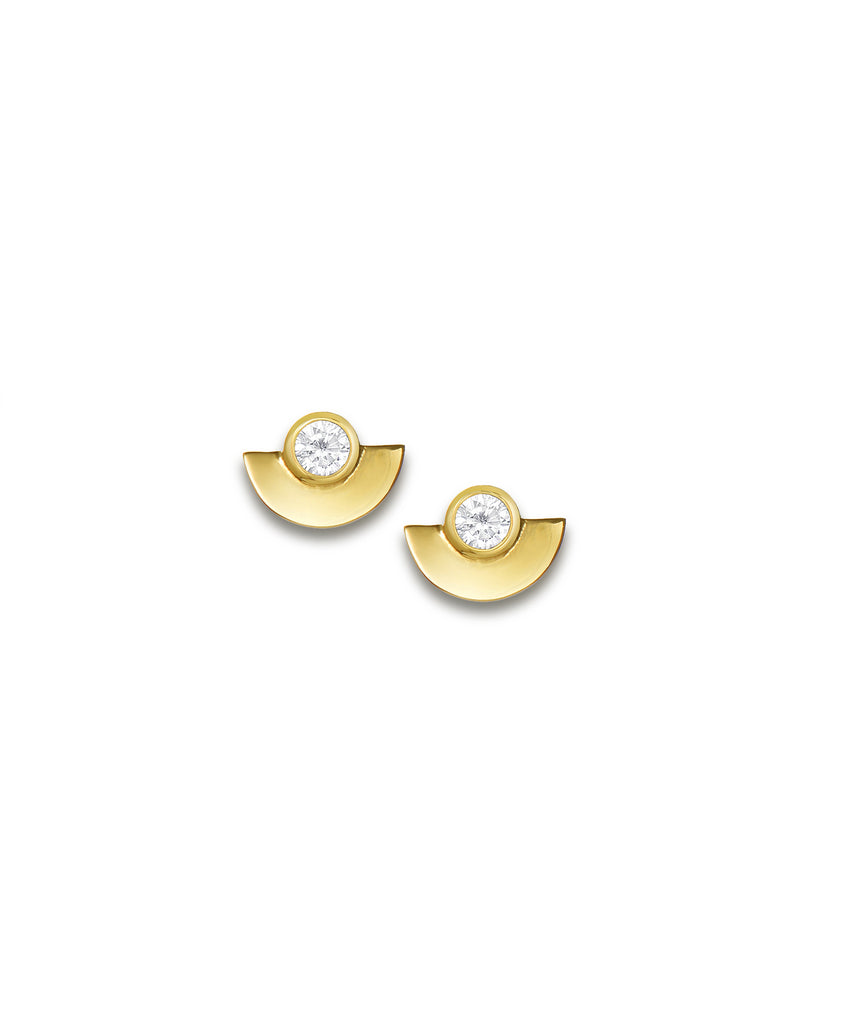 White Zirconia Fan Stud