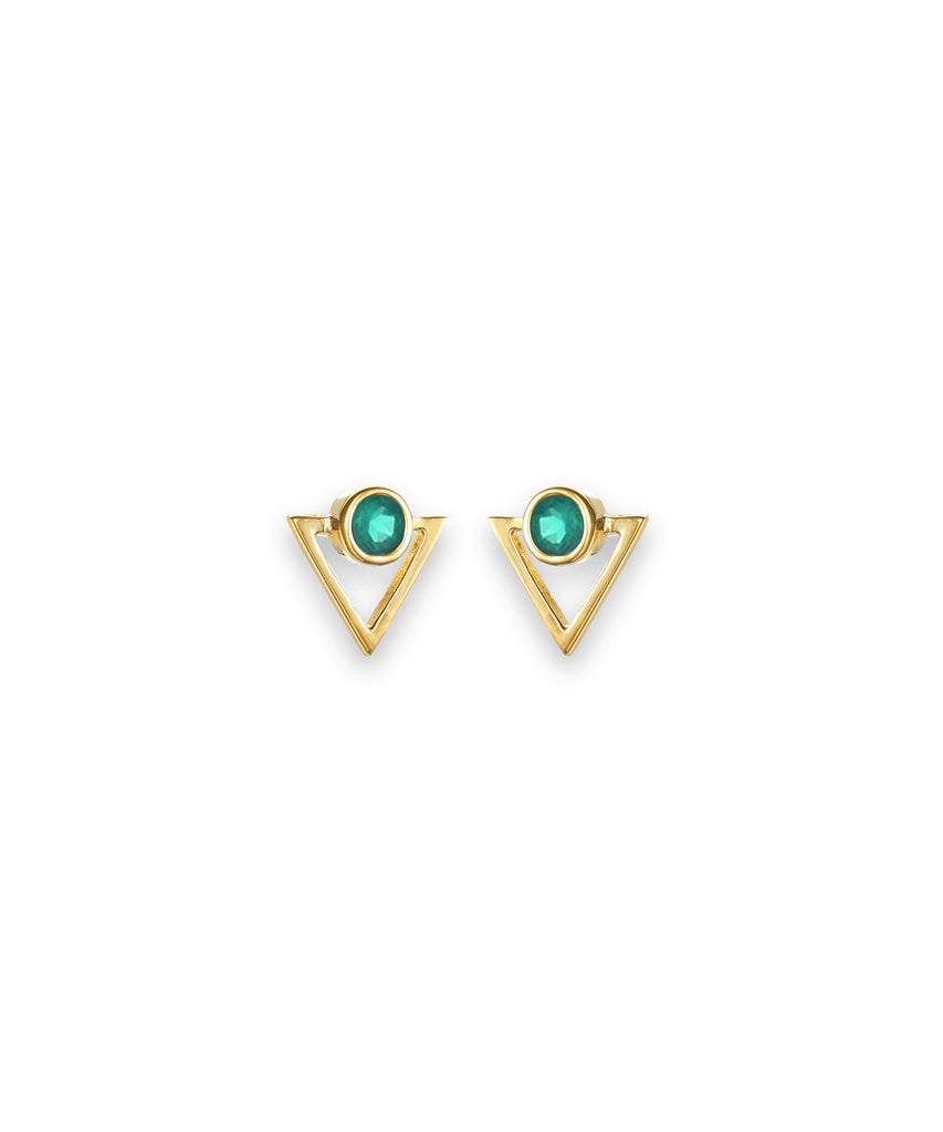 Triangular Green Onyx Studs