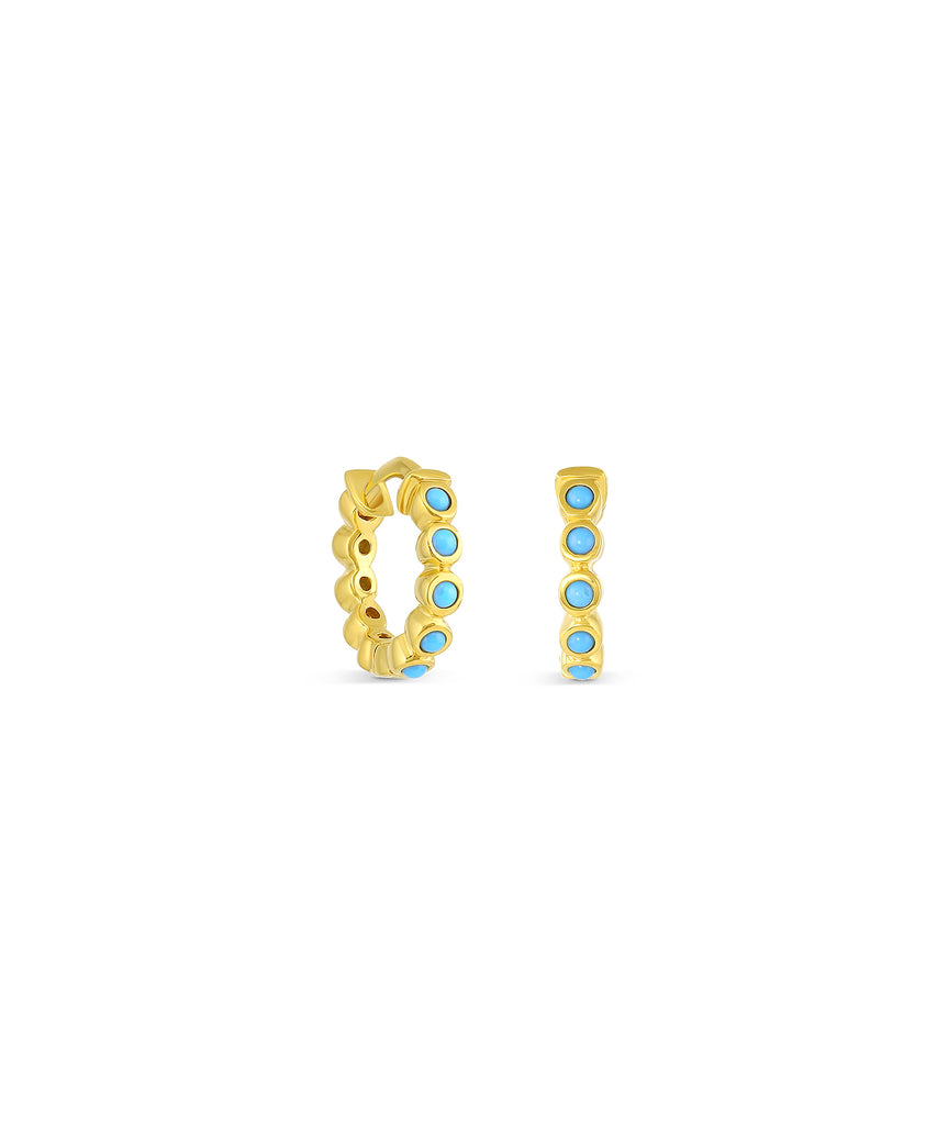 Small Turquoise Hinged Hoop Earrings