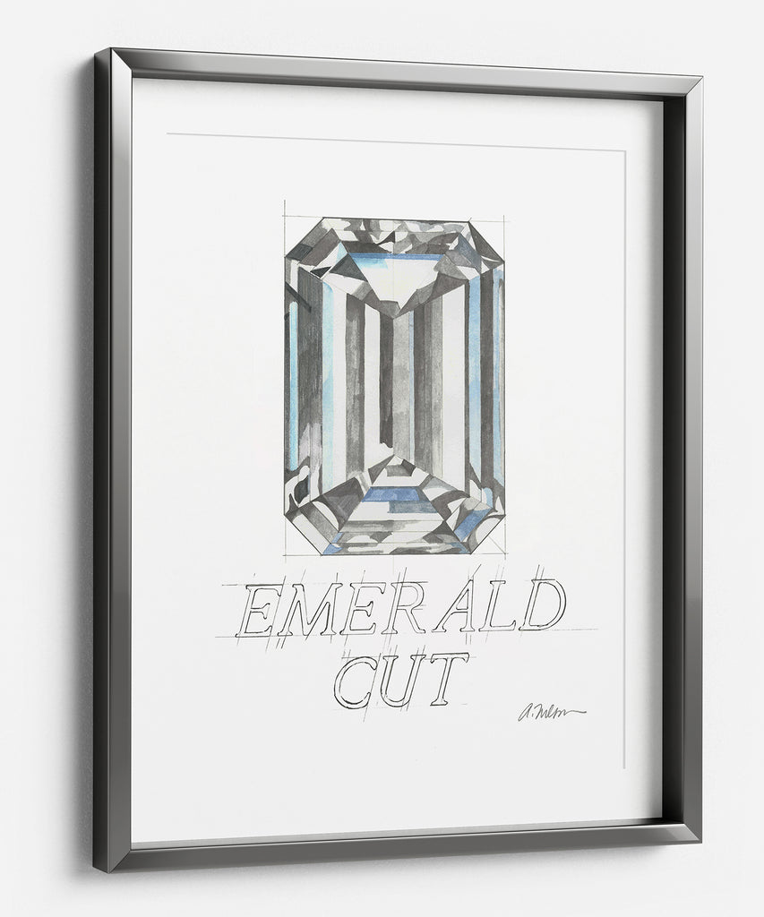 Emerald Cut Diamond Watercolor Rendering printed on Paper
