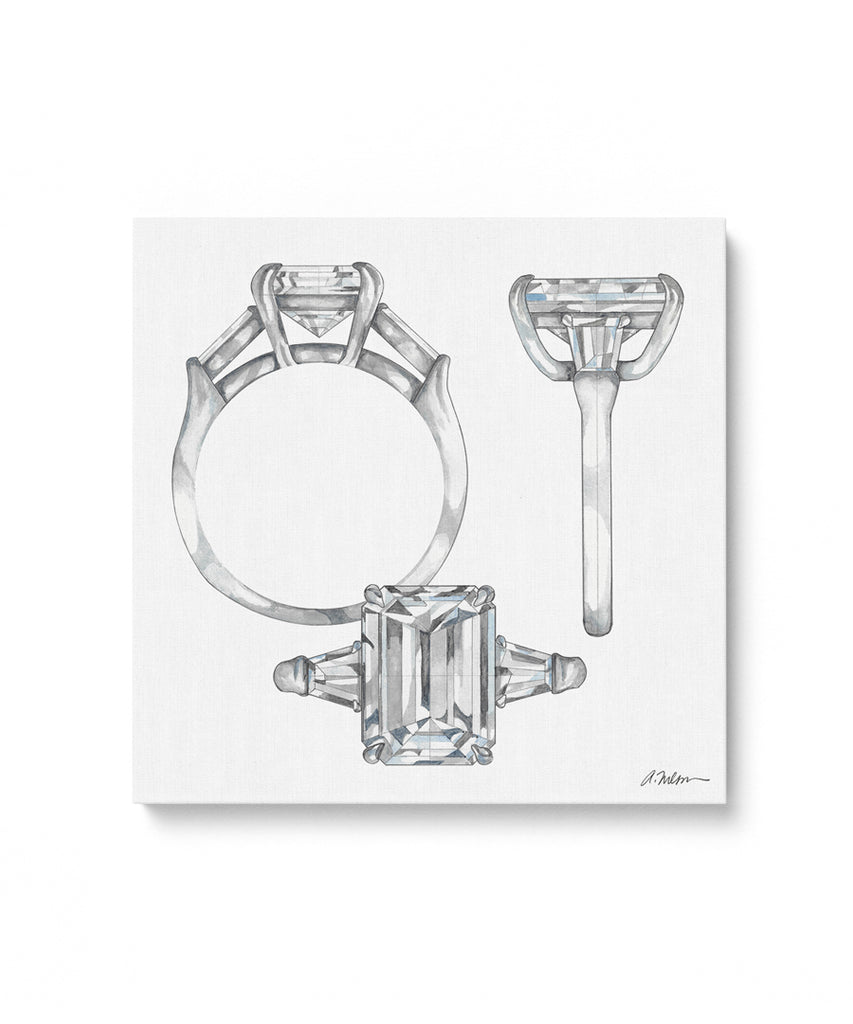 Emerald Cut Engagement Ring Watercolor Rendering on Canvas