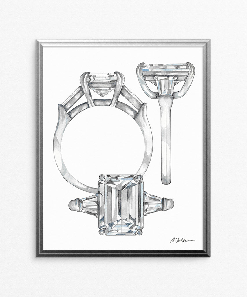 Emerald Cut Engagement Ring Watercolor Rendering on Paper
