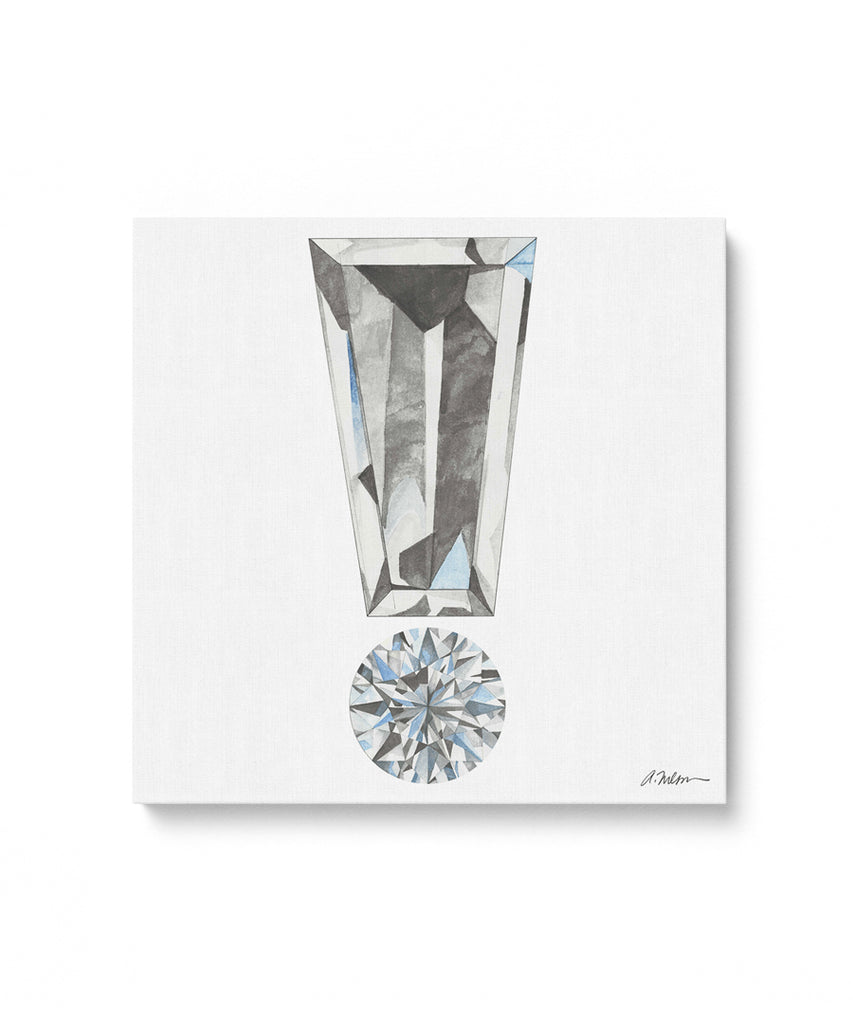 Diamond Exclamation Point Watercolor Rendering printed on Canvas