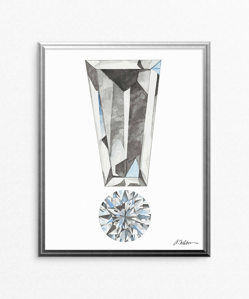 Diamond Exclamation Point Watercolor Rendering printed on Paper