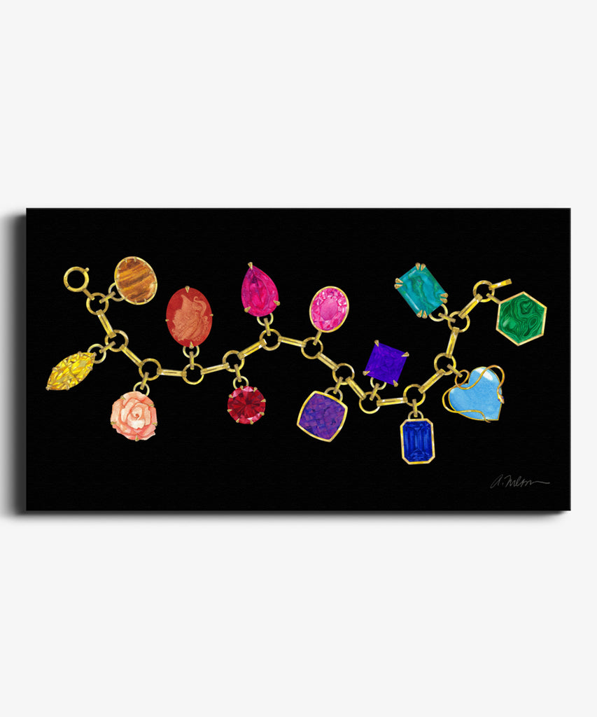 Gemstone Charm Bracelet Watercolor Rendering on Canvas