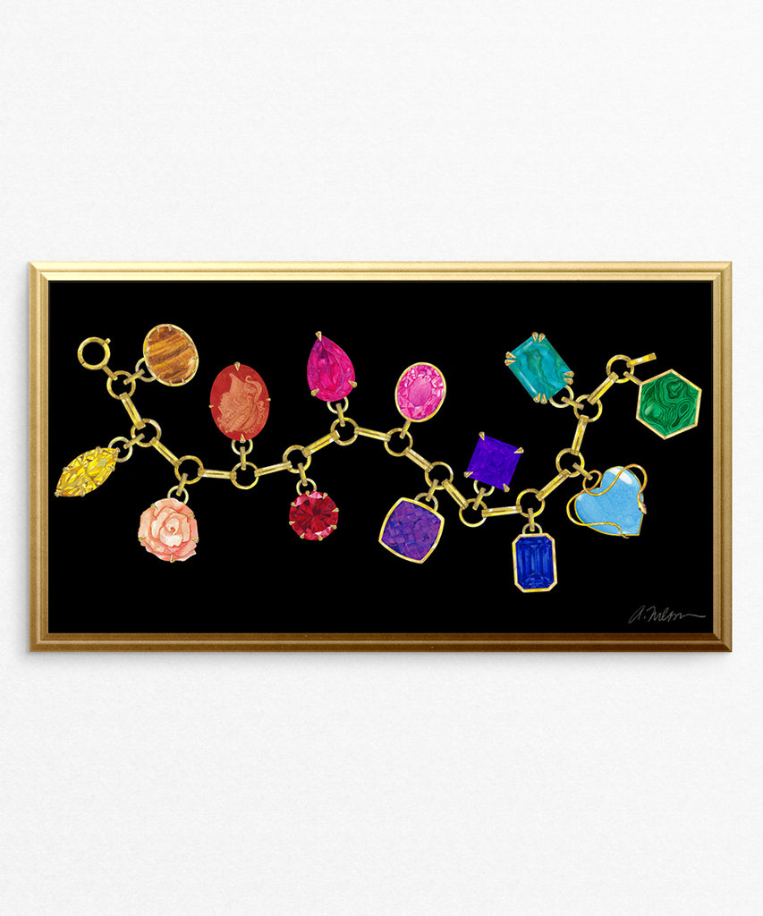 Gemstone Charm Bracelet Watercolor Rendering printed on Paper