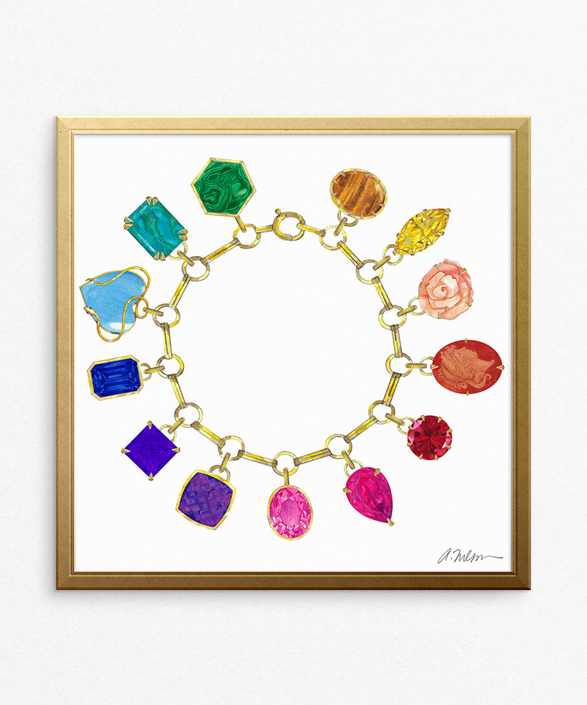 Gemstone Charm Bracelet (Square) Watercolor Rendering printed on Paper