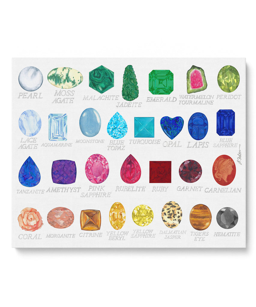 Gemstones with Names Watercolor Rendering printed on Canvas