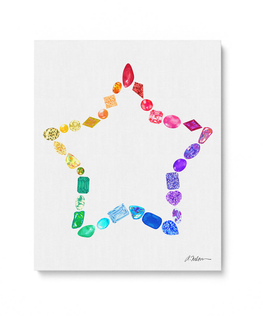 Gemstone Star Watercolor Rendering printed on Canvas