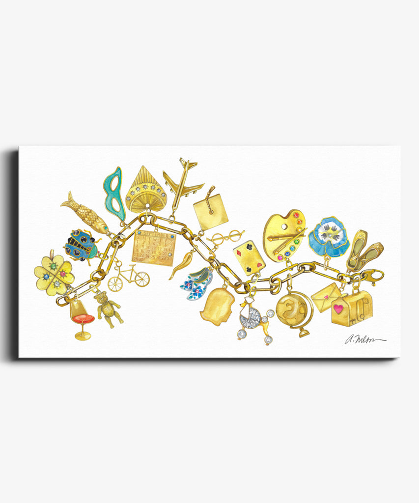 Yellow Gold Charm Bracelet Watercolor Rendering on Canvas