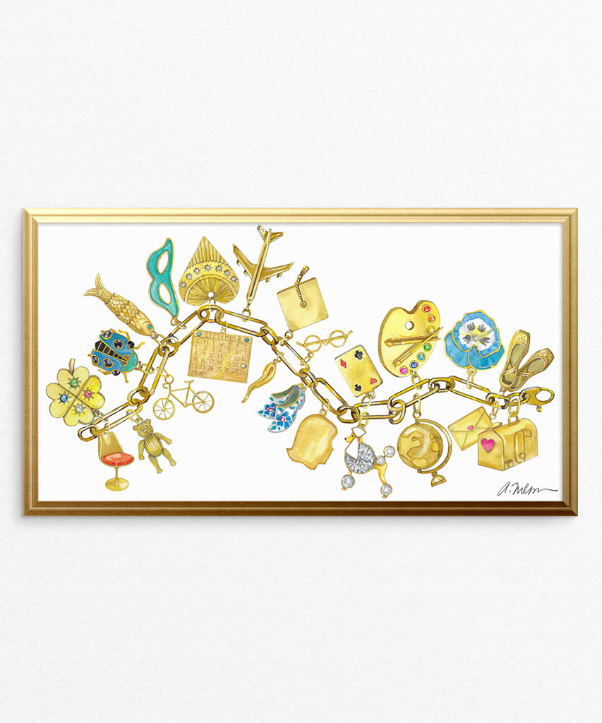 Yellow Gold Charm Bracelet Watercolor Rendering printed on Paper