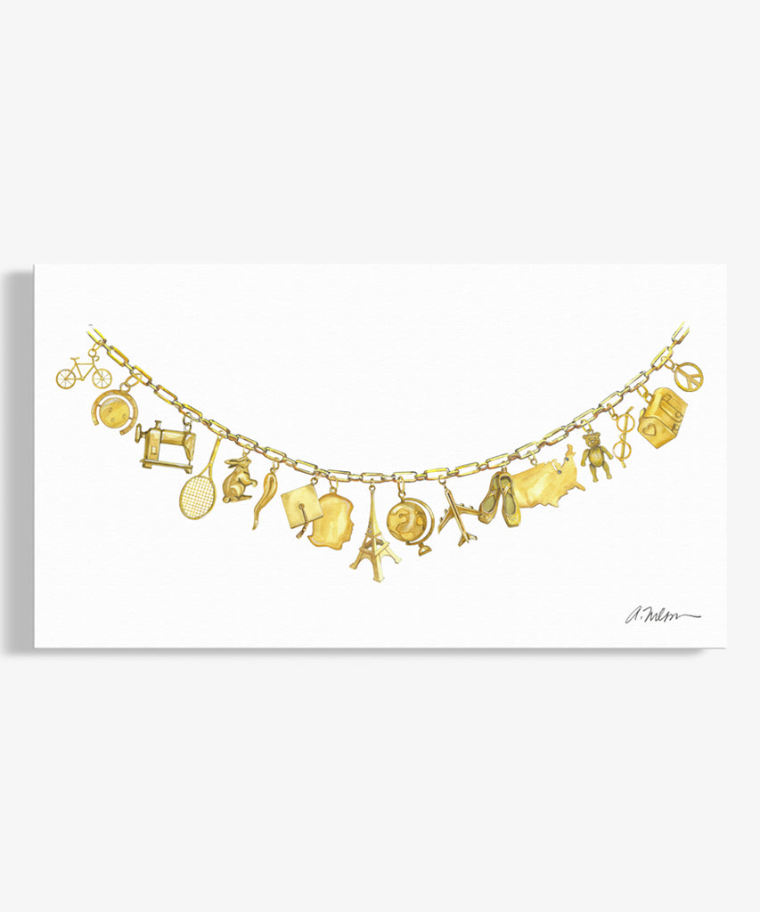 Yellow Gold Charm Necklace Watercolor Rendering on Canvas