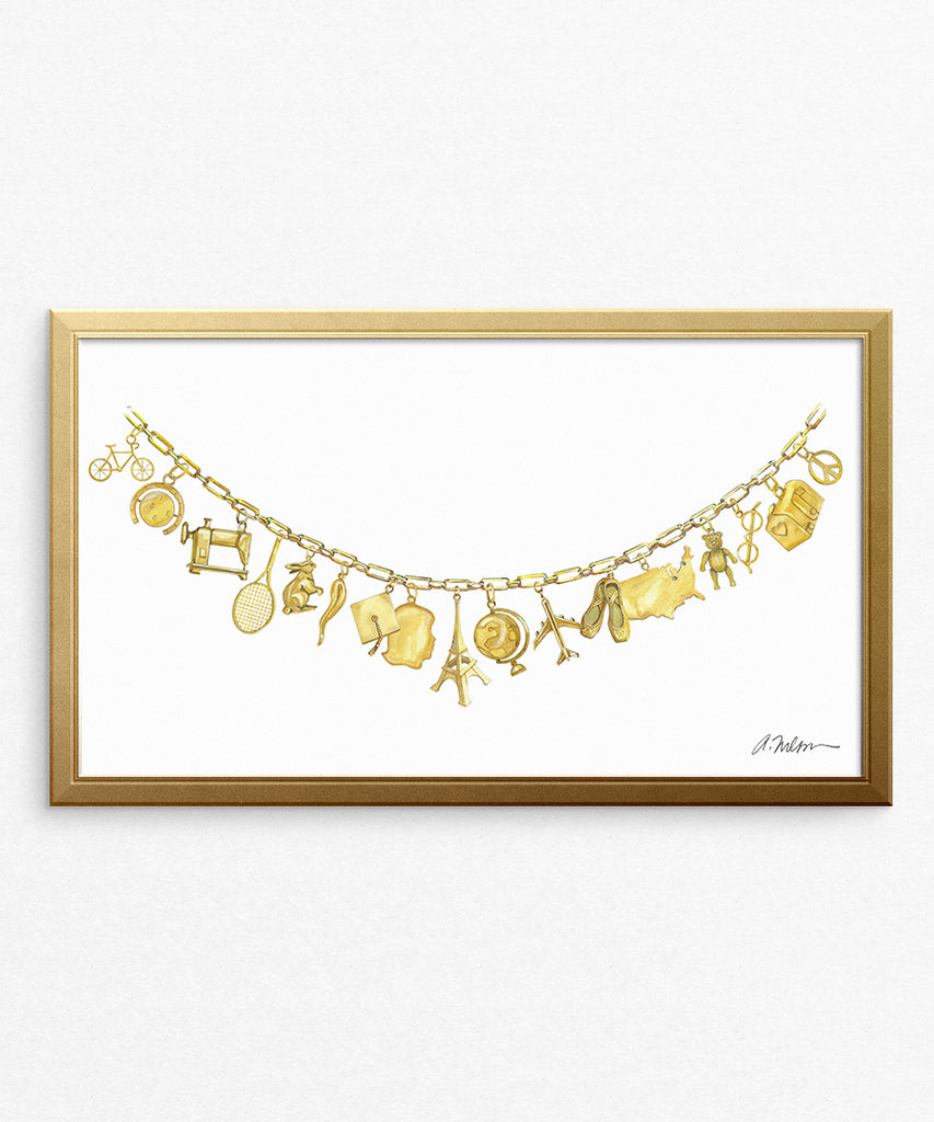 Yellow Gold Charm Necklace Watercolor Rendering printed on Paper