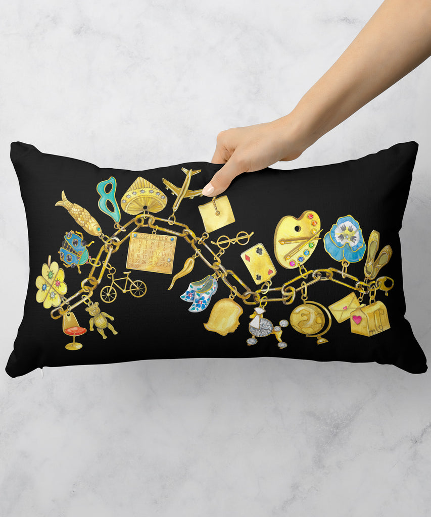 Gold & Silver Charm Bracelet Pillow