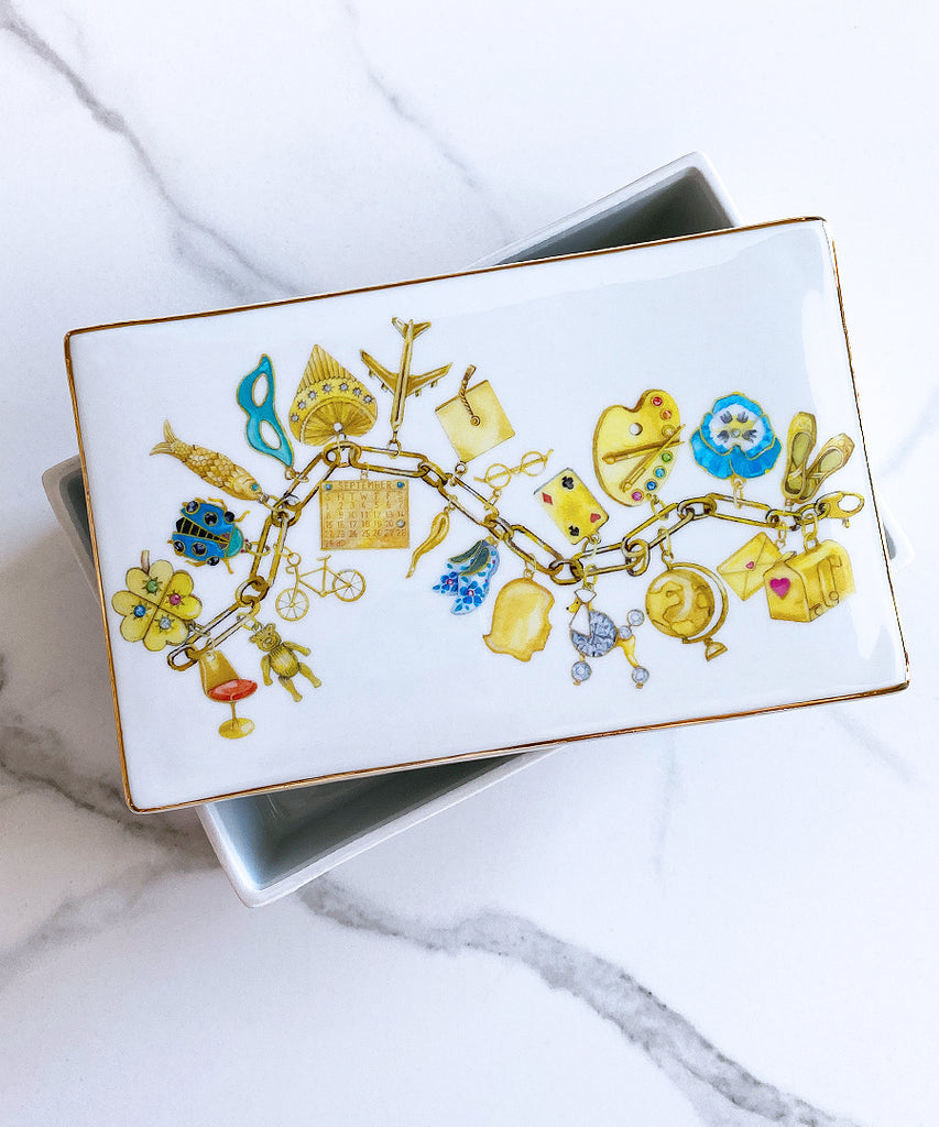 Gold Charm Bracelet Porcelain Box