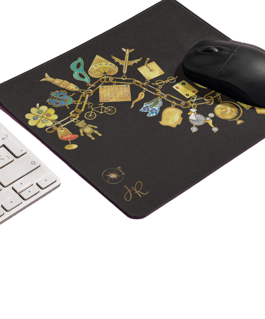 Yellow Gold Charm Bracelet Mouse Pad