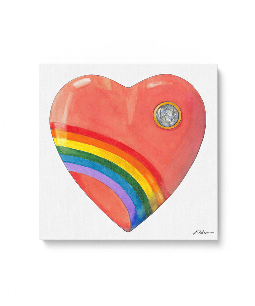 1980's Acrylic Rainbow Heart Watercolor Rendering on Canvas