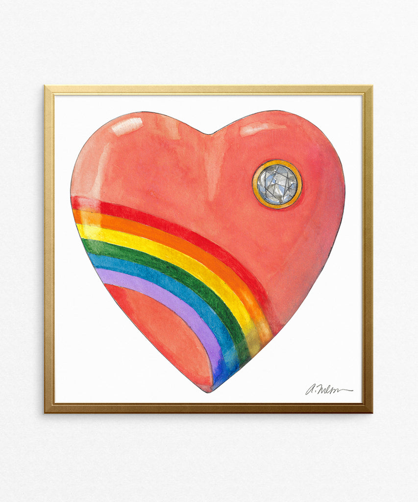 1980's Acrylic Rainbow Heart Watercolor Rendering on Paper