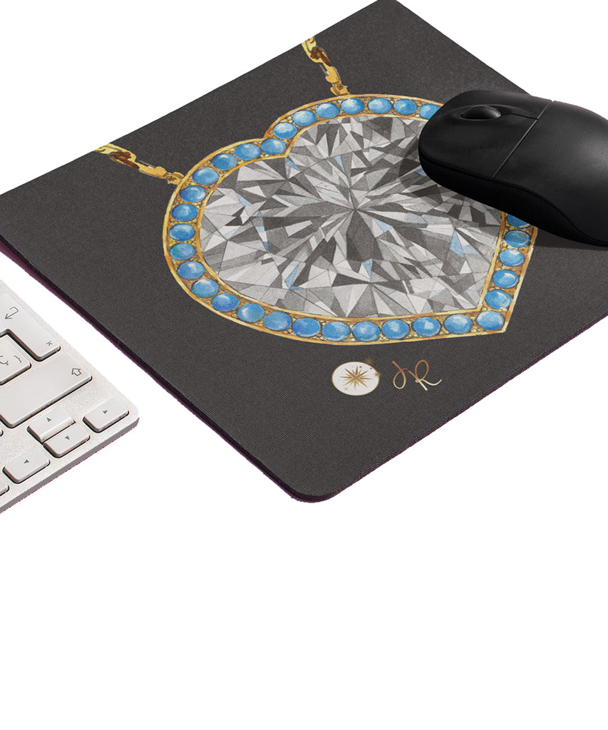 Turquoise & Diamond Heart Mouse Pad