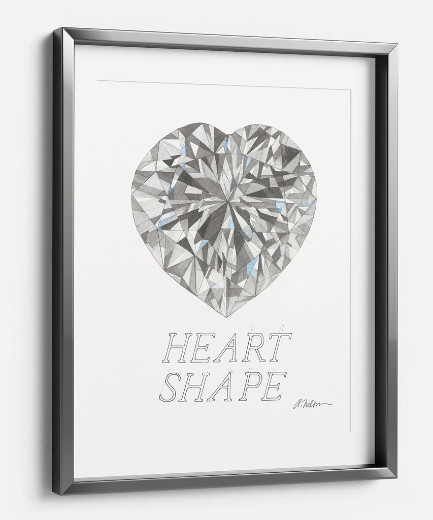 Heart Shape Diamond Watercolor Rendering printed on Paper