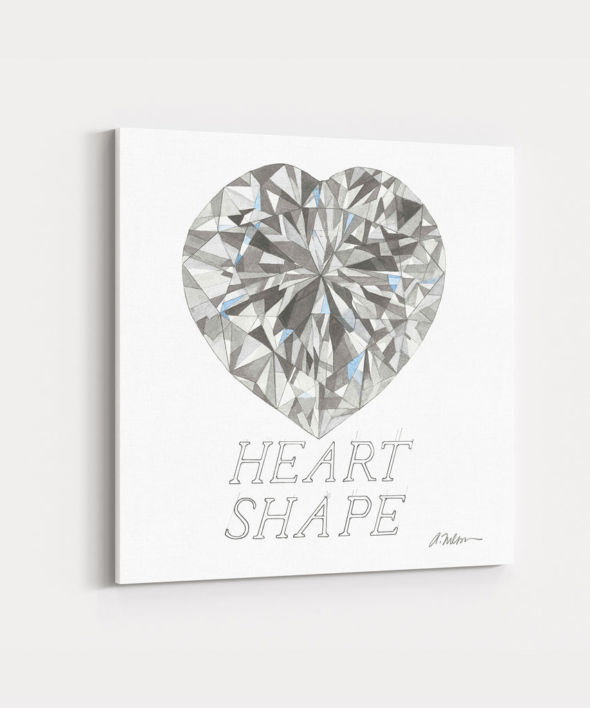 Heart Shape Diamond Watercolor Rendering printed on Canvas