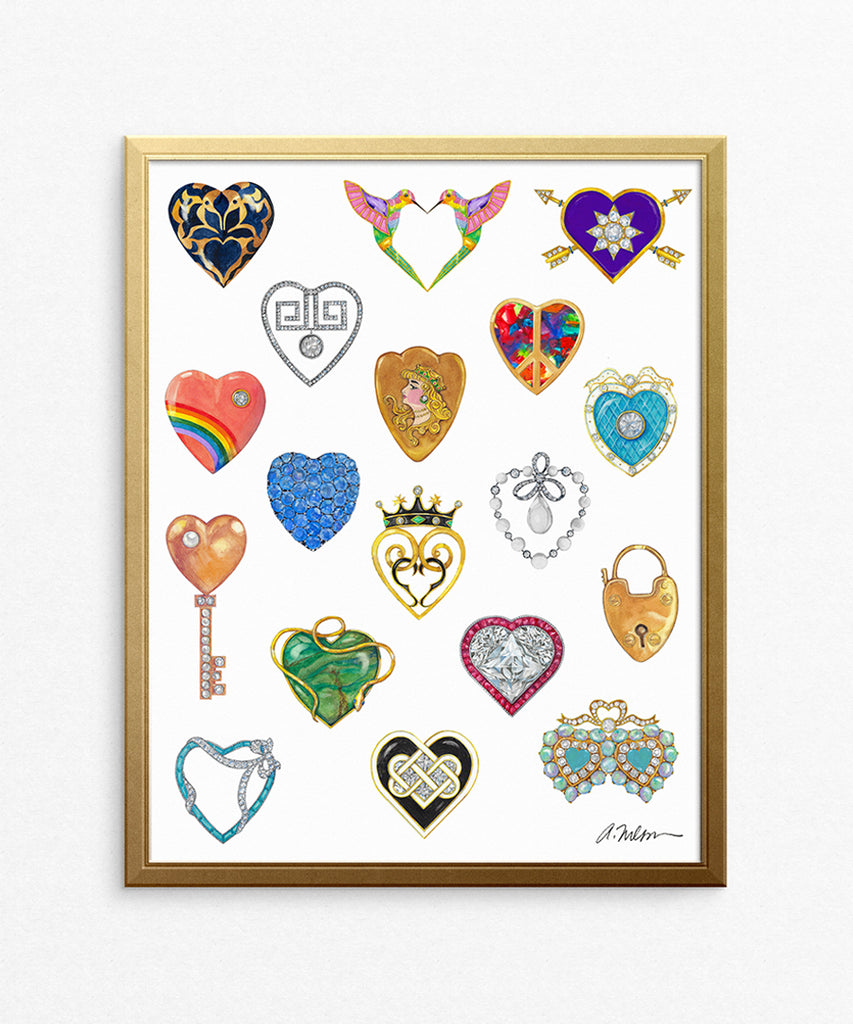Jeweled Hearts Watercolor on Paper
