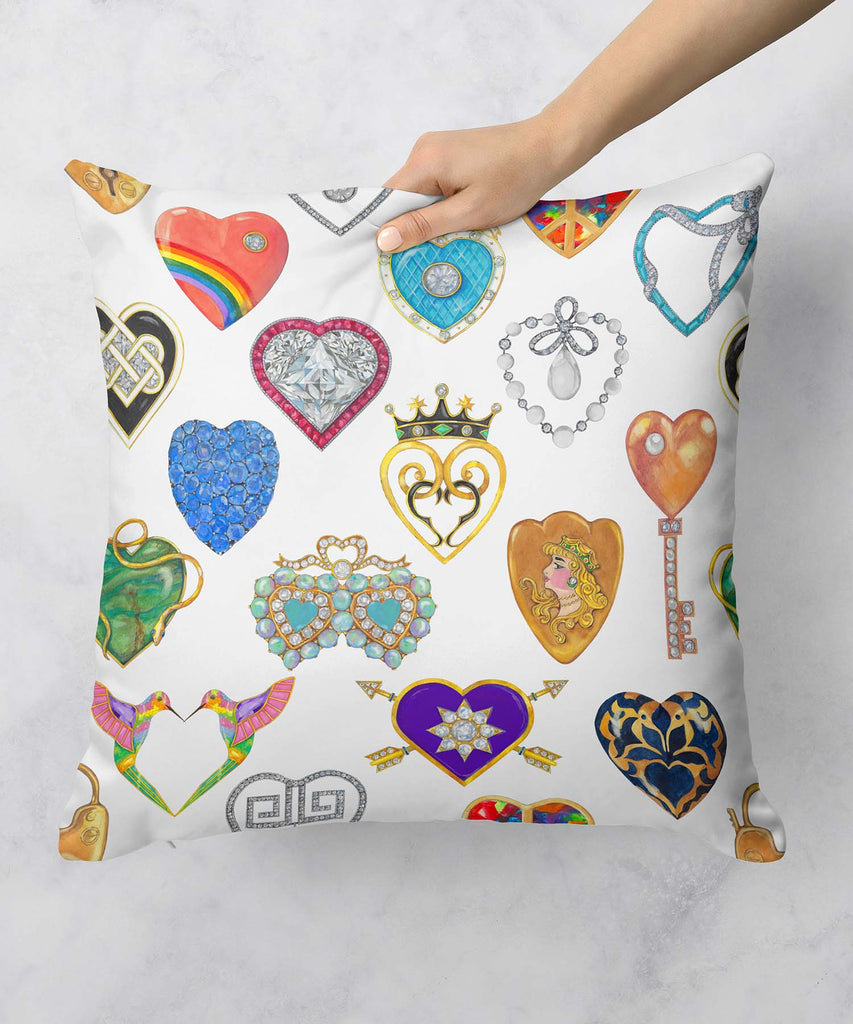 Jeweled Hearts Pillow