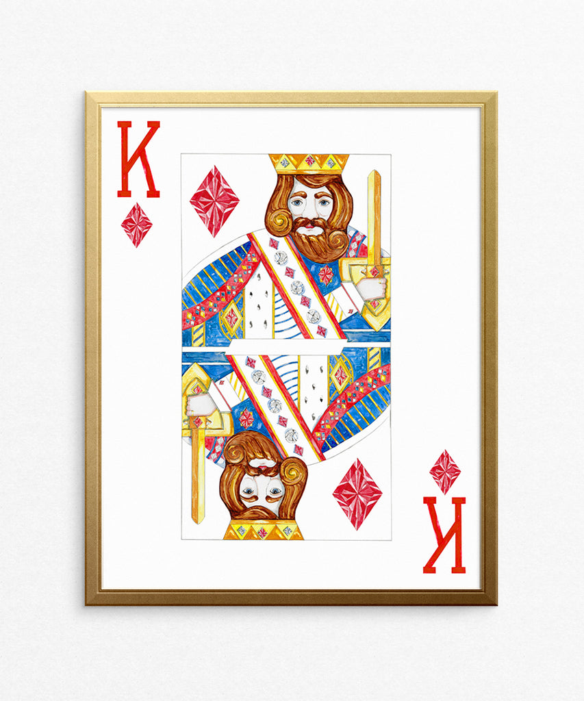 King of Diamonds Watercolor Rendering on Paper