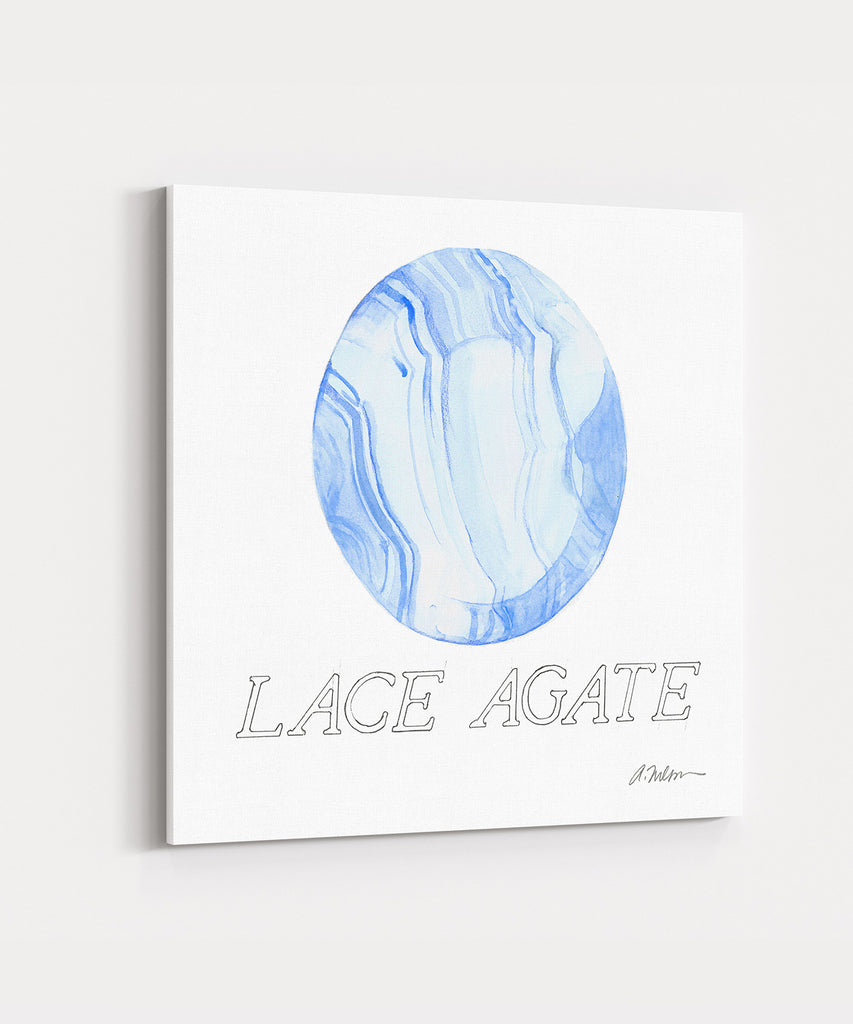 Lace Agate Watercolor Rendering printed on Canvas