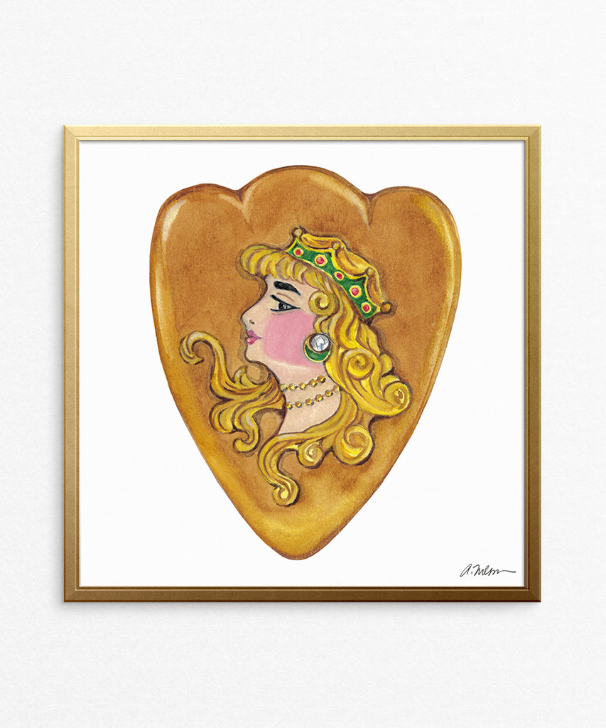 Art Nouveau Heart Watercolor Rendering on Paper