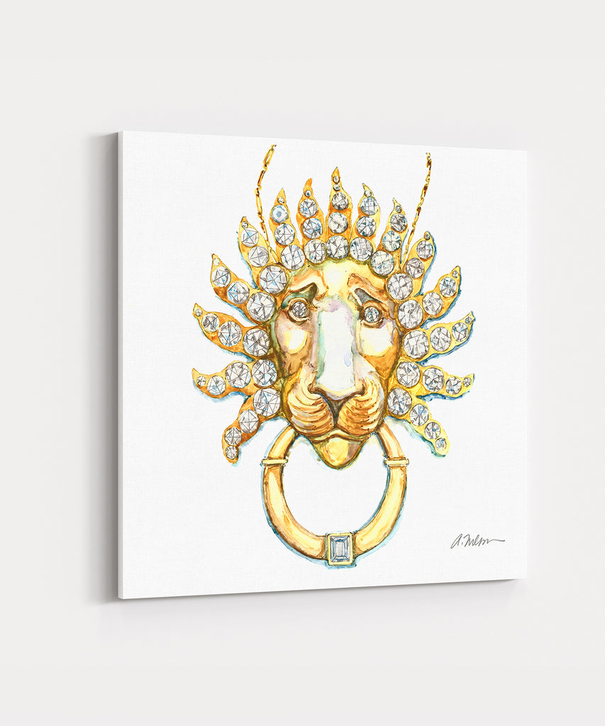 Lion Necklace Watercolor Rendering printed on Canvas