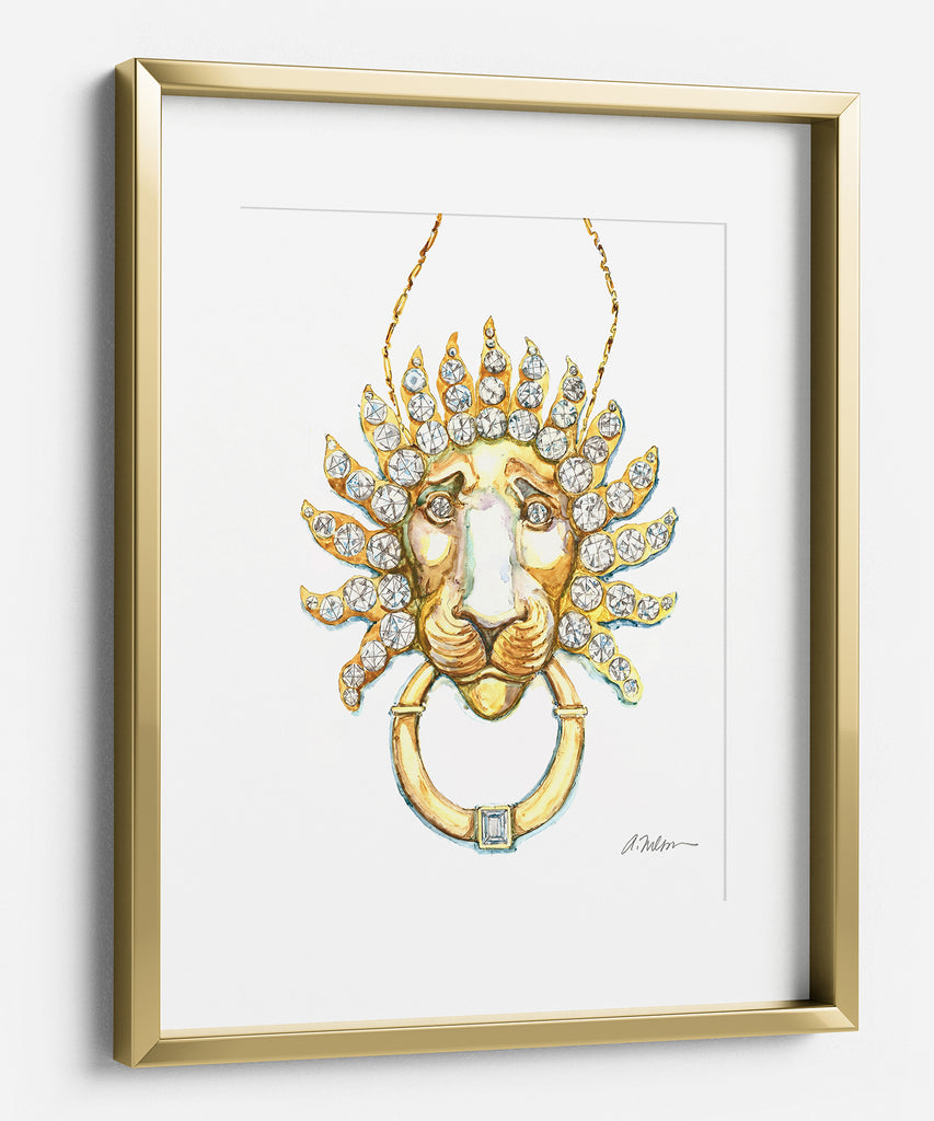 Lion Necklace Watercolor Rendering printed on Paper