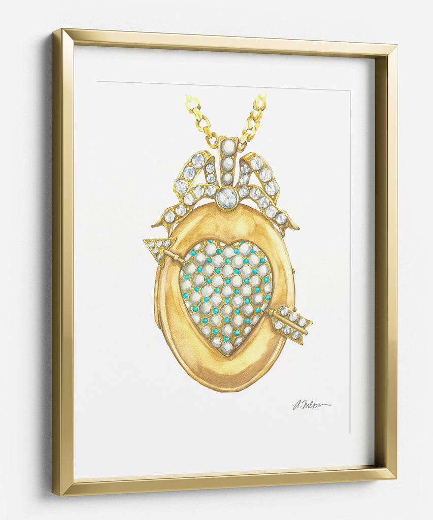 Victorian Locket Watercolor Rendering printed on Paper