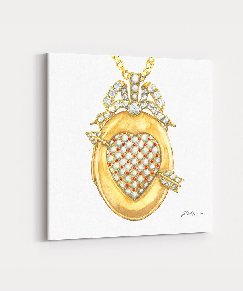 Victorian Locket Watercolor Rendering printed on Canvas