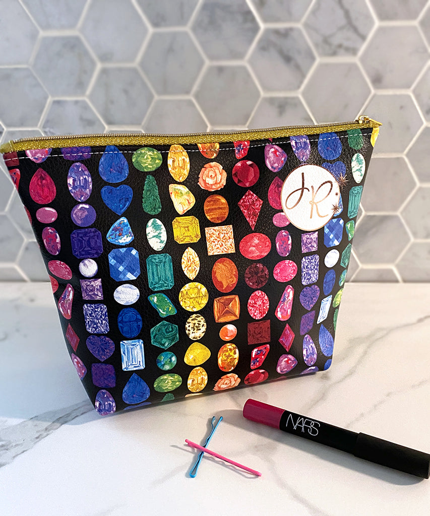 Rainbow Gemstone Makeup Bag