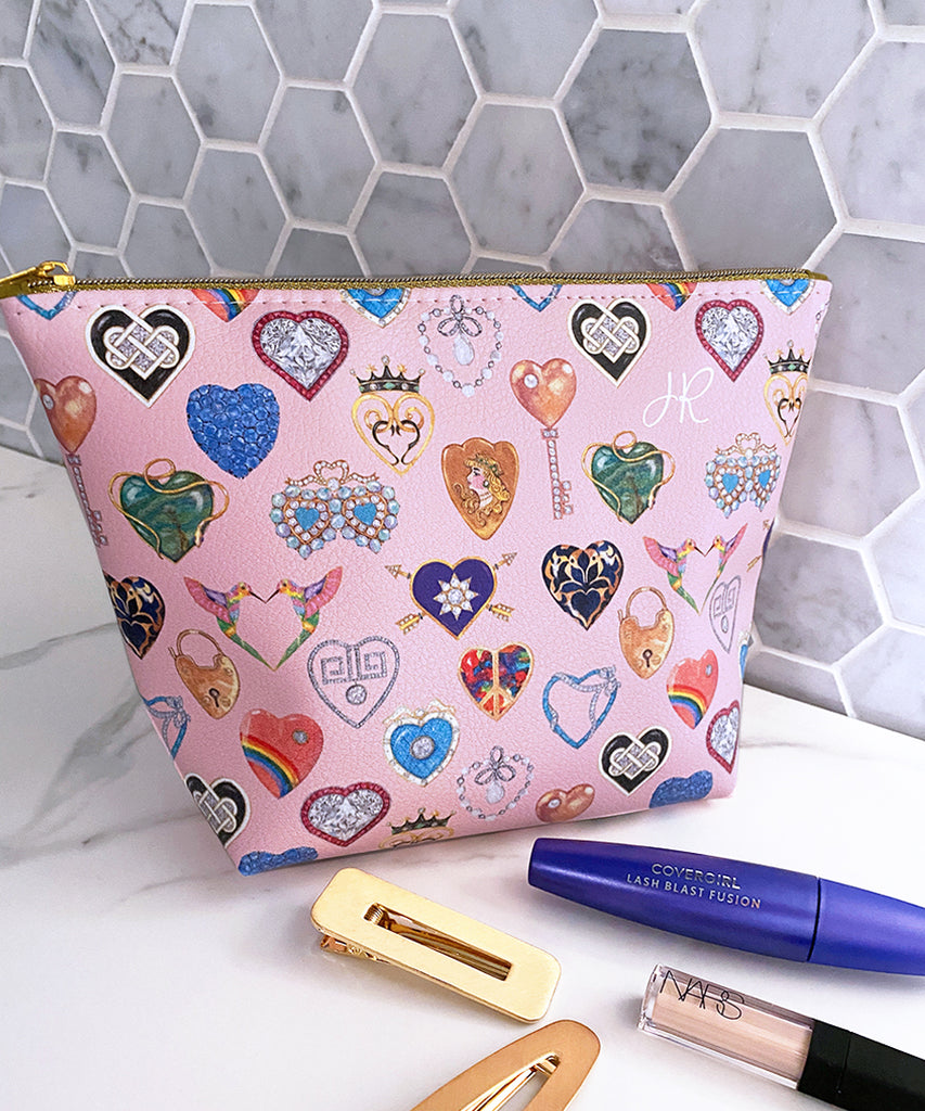 Jeweled Hearts Makeup Bag