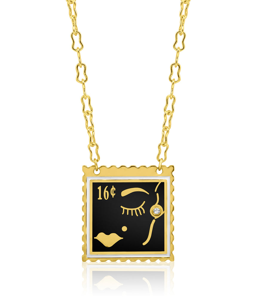 Face Stamp Enamel Necklace