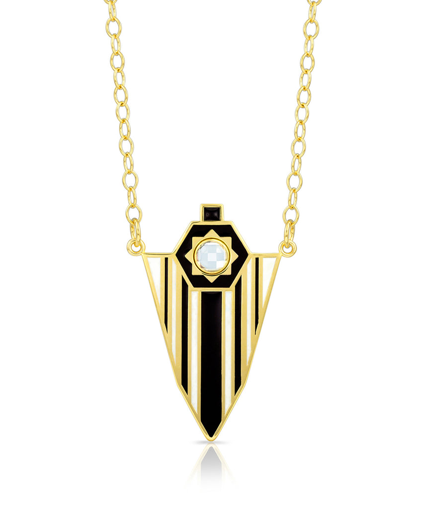Starburst Enamel Shield Necklace