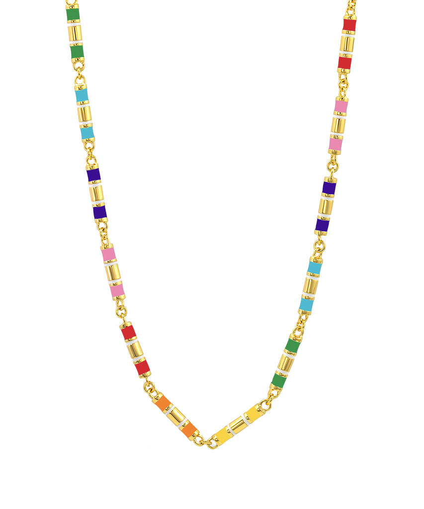 Barrel Enamel Chain Necklace