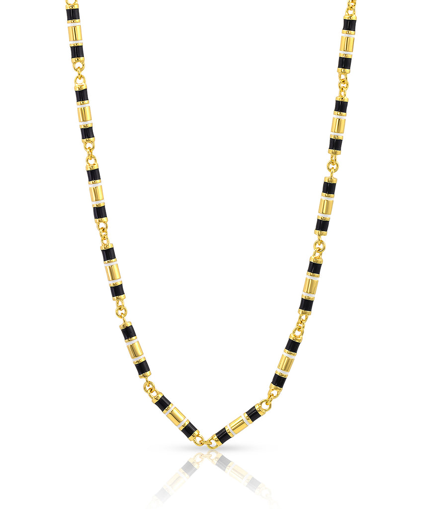 Black & White Enamel Barrel Link Chain Necklace