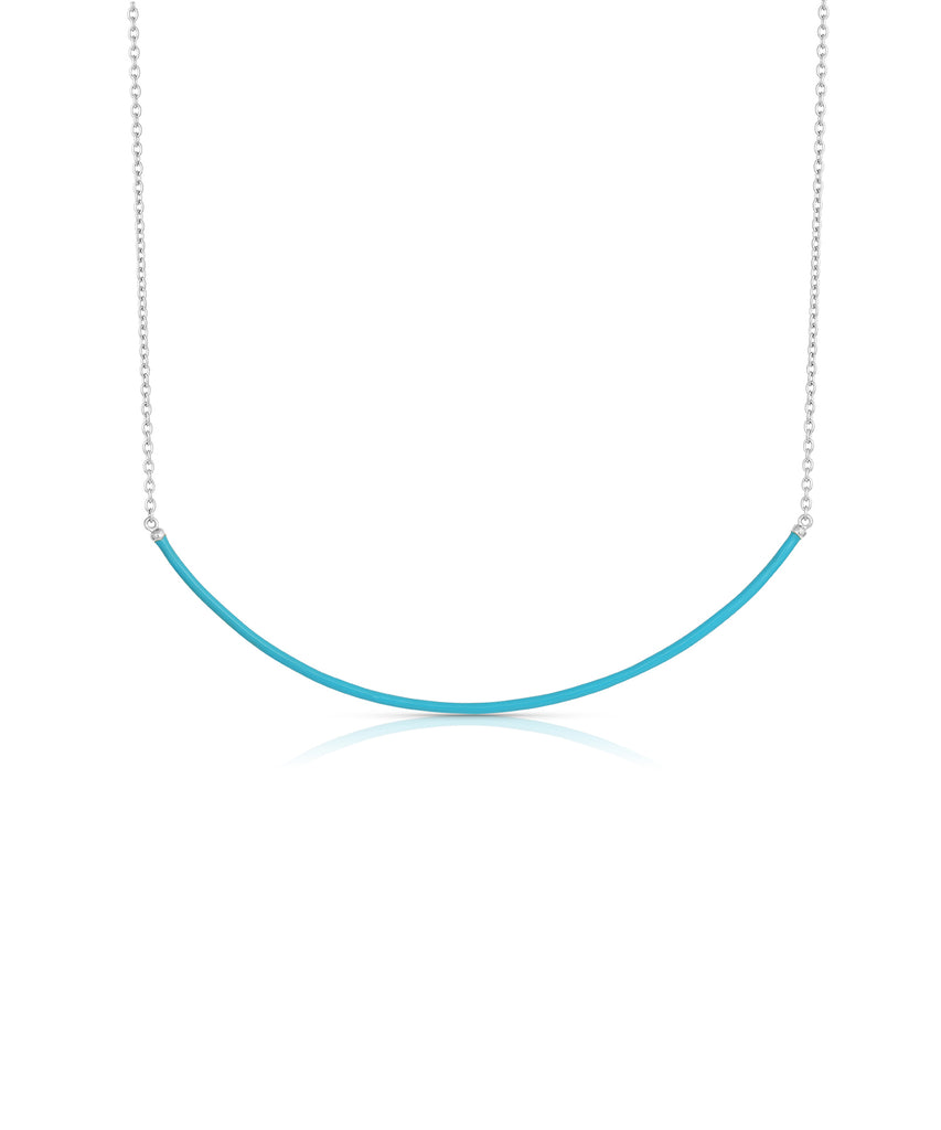 Curved Enamel Bar Necklace