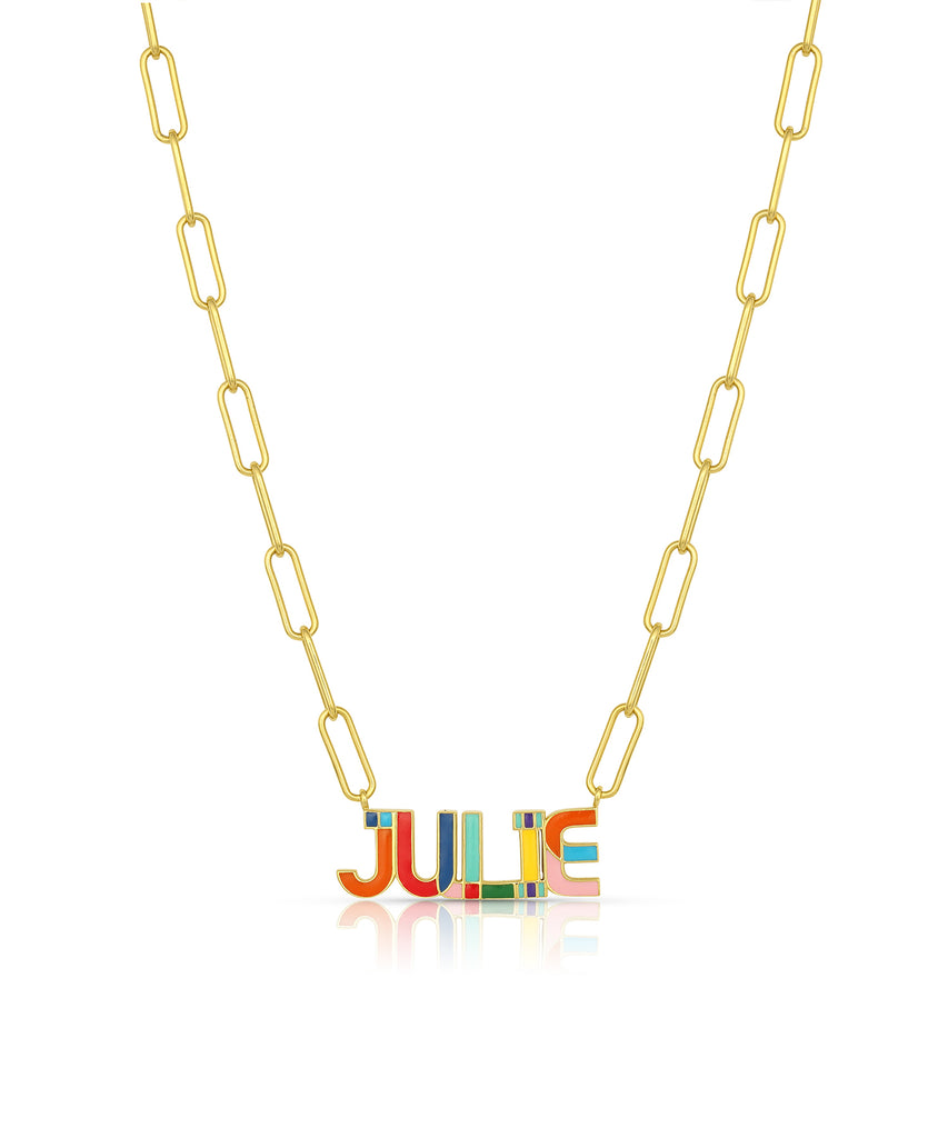Nameplate Enamel Necklace