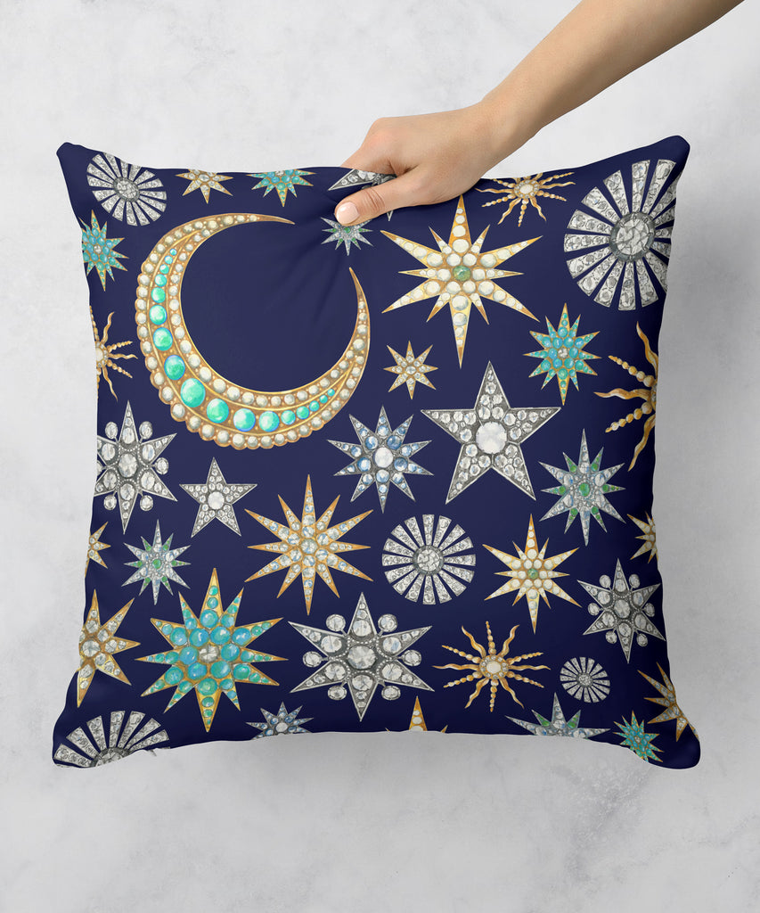 Star Brooches on Navy Pillow