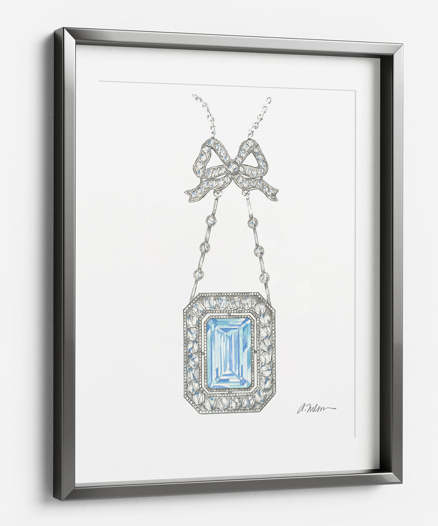 Watercolor Bow Necklace Rendering with Diamonds and Aquamarine printed on Paper